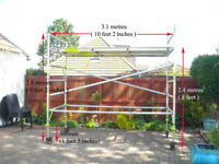 LONG Aluminium tower 3.1M /10'2'' x 1.9M /6'2' - ACTUAL HEIGHT 2.8M / 9FT 2INS + 4 WHEELS *DOVER*