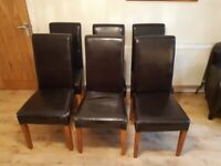 Brown Leather Scroll Back Chairs x 6