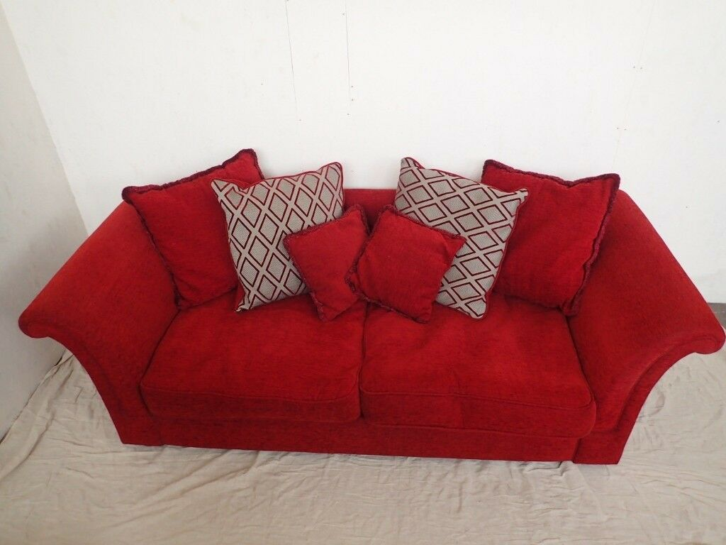 DFS, Spacious Two Seater, Red Fabric Sofa with Cushions (2 sofas available)  | in Southport, Merseyside | Gumtree