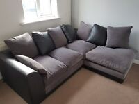 GREY AND BLACK CORNER SOFA