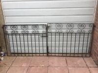 A Pair of Heavy Wrought Iron Driveway Gates