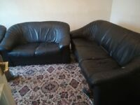Free Black Leather Sofa Set