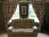 3,2,1 cream leather sofas