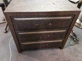 Crocodile skin 3 drawer cabinet