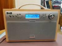 Dab radio wooden with alarm clock