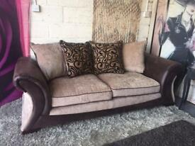 New Fresno 3 Seater Sofa In Chenille Fabric And Faux Snakeskin in Chocolate Brown and Mink