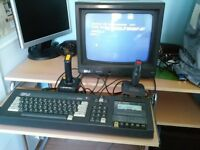 AMSTRAD CPC 464 COMPUTER WITH COLOUR MONITOR JOY STICKS AND CASSETTE GAMES