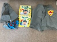 Knight costume and book