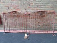 PAIR OF HEAVY WROUGHT IRON DRIVEWAY GATES.