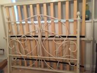 Cream/white metal double bed frame - very good condition