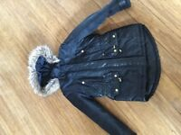 GIRLS BLACK PARKA FROM RIVER ISLAND AGE 10-11 yrs