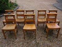 SET OF 8 VINTAGE CHURCH / CHAPEL CHAIRS. Delivery possible. MORE OR FEWER AVAILABLE.