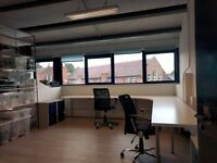 4 desks available in W10 immediately - light, airy, warehouse style - 10 mins from circle line tube