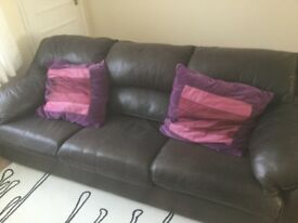 3 seater Tan leather sofa with matching recliner chair