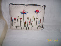 2 lovely matching IKEA floral embroidered filled cotton cushions. blue red green yellow white