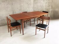 1960's mid century modern extending dining table and 4 Czech dining chairs