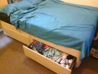 double bed with mattress and 4 drawers
