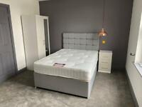 Double complete bed modern grey fabric includes headboard