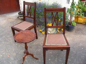 Pair of lovely vintage ladies chairs for dining or bedroom. Two Edwardian chairs.