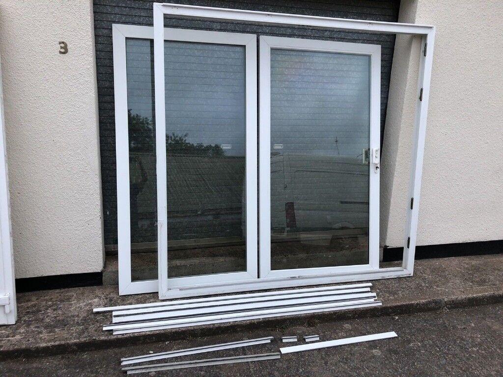 White Upvc Sliding Patio Glass Door Double Glazed Slide Open In