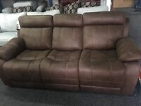 New/Ex Display LazyBoy Brown 3 Seater Recliner Sofa