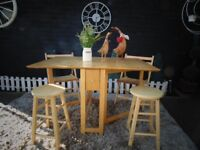 PINE DROP LEAF KITCHEN TABLE WITH 2 FOLD UP CHAIRS AND 2 STOOLS VERY USEFUL SET