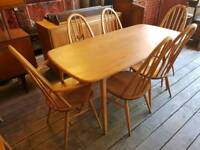 Mint Condition Ercol Plank Table With Six Chairs