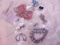 Selection of jewellery, necklaces, earings, bracelets. 10 various items in a pack.