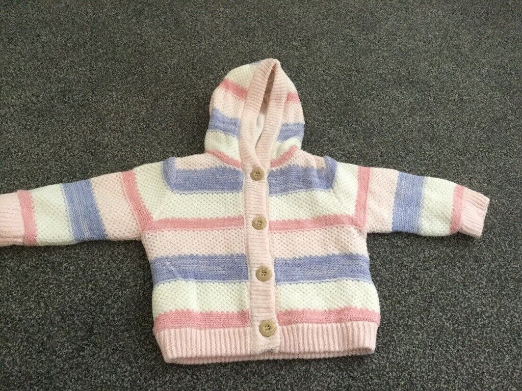 8b35cda36d27 Girls pink cream and blue stripped cardigan fit size 6-9 months