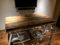 RESTORED REFURBISHED RECLAIMED EXPOSED GRAIN WOOD DINING / KITCHEN TABLE INDUSTRIAL LOOK
