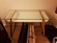 Glass Desk with white undertray