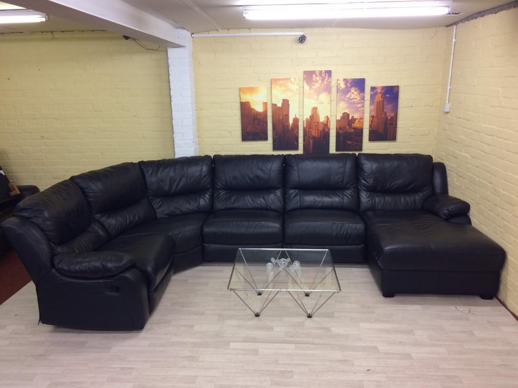 HUGE Black Modular Reclining Leather Corner Sofa In