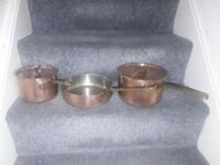 Vintage heavy duty copper pans rarely seen