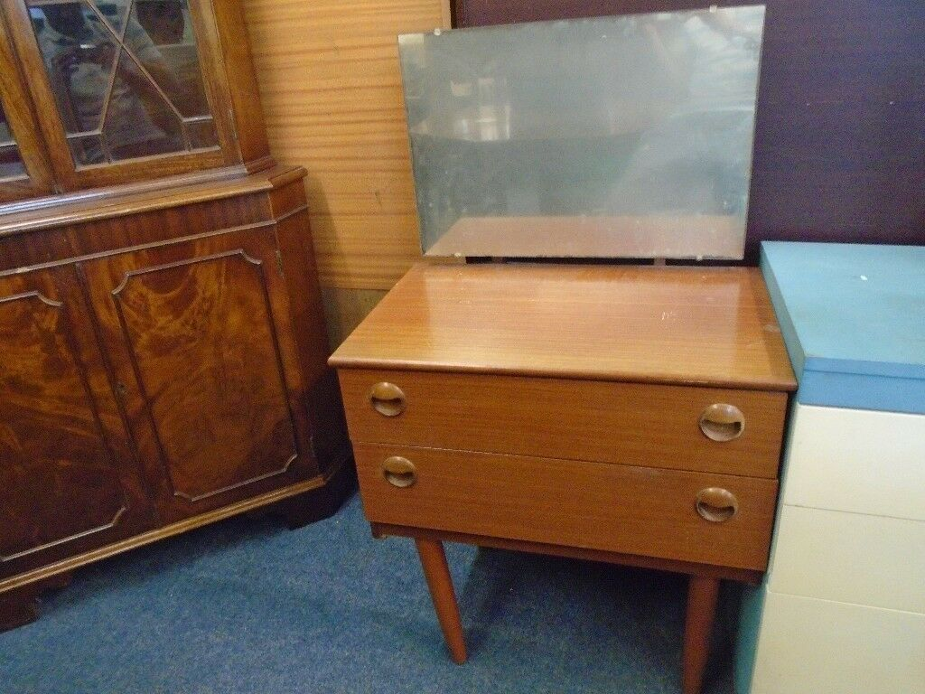 tiny vintage dressing table with 2 drawers and a mirror