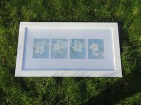White wood framed picture frame with blue /white flowers new