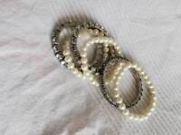 Bracelets for sale. Pearl and rhinestone imitation