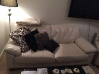 2 & 3 seater off white leather sofa