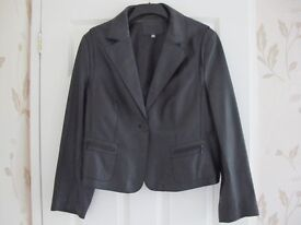 Ladies Black Soft Leather Jacket By M&S Size( a small) 20