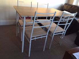 White dining table set with 4x chairs. Pick up only £40