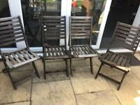 4 x fold up wooden garden chairs