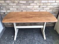 ERCOL DINING TABLE MID CENTURY MODERN SOLID ELM WOOD SANDED TOP PAINTED LEGS