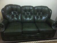 Three piece (green) leather sofia
