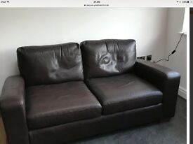 Next 2.5 Seater sofa and chair - brown leather
