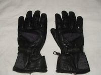 BUFFALO, black leather motor bike gloves, size L