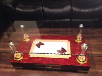 Brand New High Gloss Coffee Table with Wooden Base and Clear Glass top, High Quality (Red Colour)