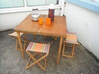Vintage 1960's -Fold-Up Table & 4 Chairs. * Vintage/Shabby Chic Furniture.*