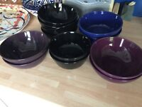 12 COLOURED BOWLS - VARIOUS SIZES