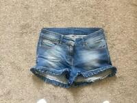 Denim River Island size 8 shorts will frill on cuffs, never worn, excellent condition