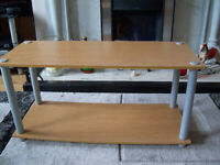 TV Unit Or Table Wood Effect Grey Tubular Legs