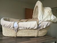 MOTHERCARE MOSES BASKET cream & beige velour with mattress